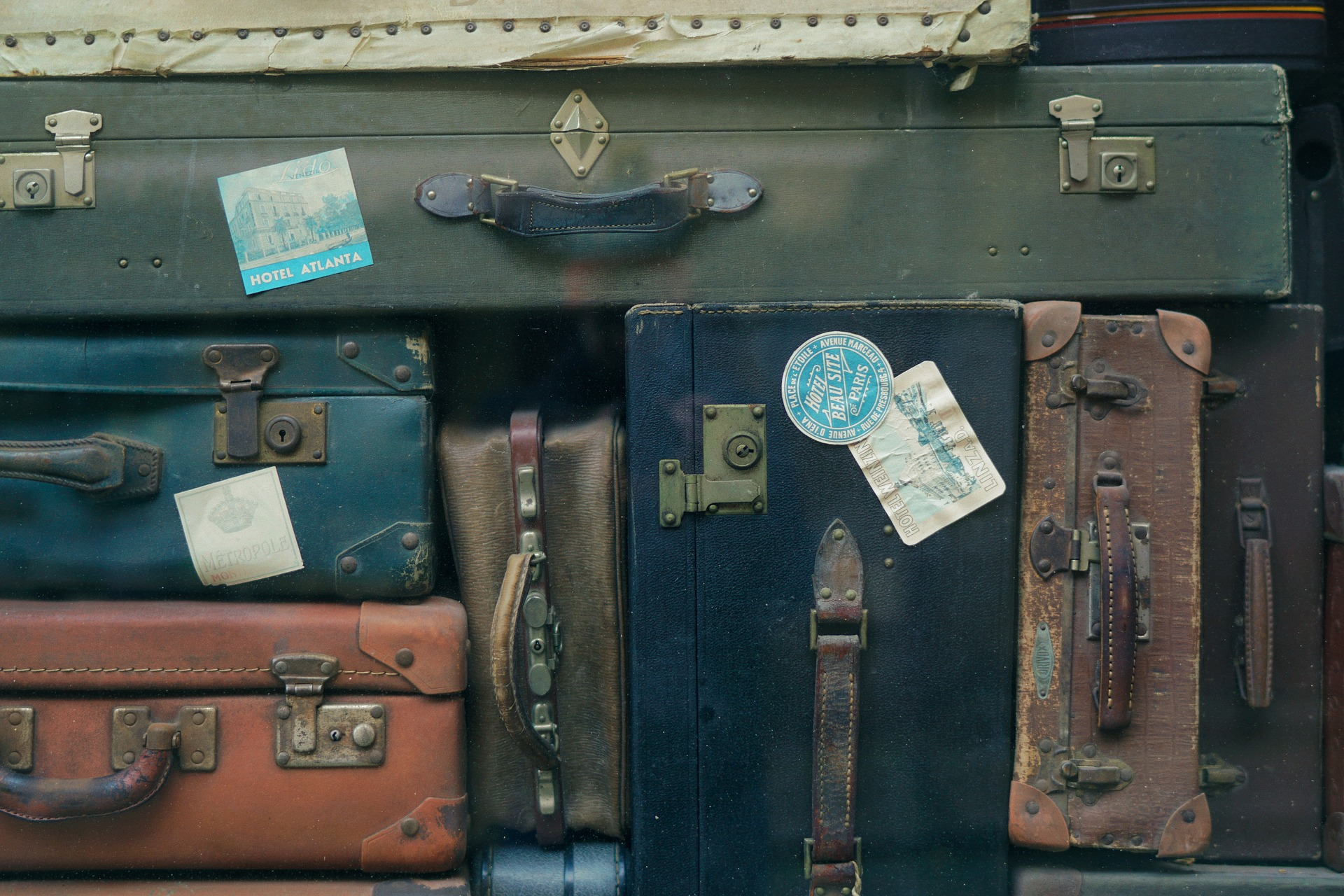 several old suitcases