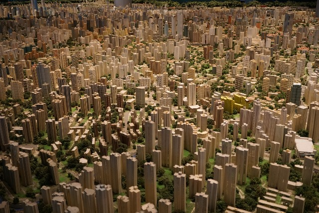 City model made of wood