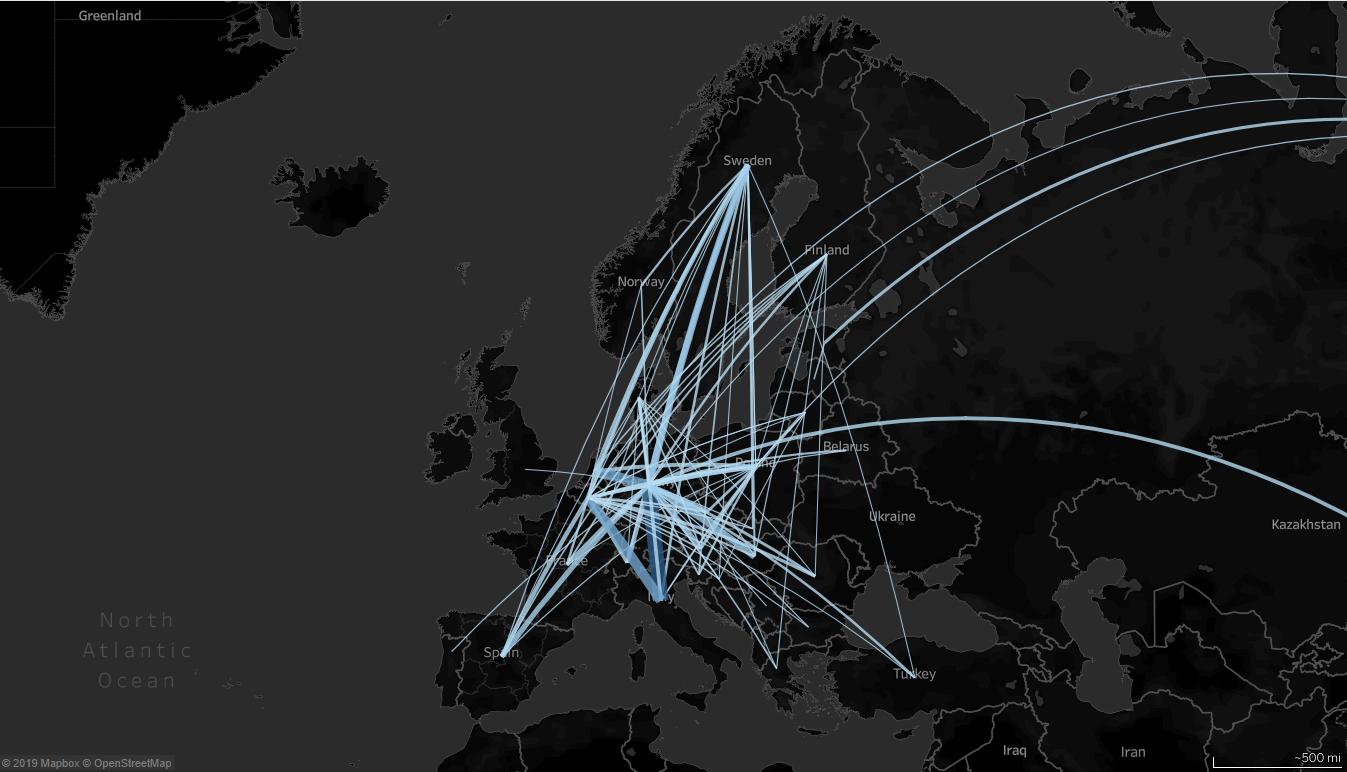 Karte zu Warenstroemen mit UIC-Daten 2018